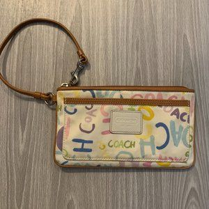 Coach Rainbow Pastel Zip Wristlet Clutch